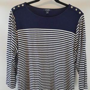 💥Chaps striped blue white blouse top plus sz 2XL